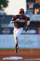 Batavia Muckdogs outfielder Galvi Moscat (27) running the bases during a game against the State College Spikes August 22, 2015 at Dwyer Stadium in Batavia, New York.  State College defeated Batavia 5-3.  (Mike Janes/Four Seam Images)