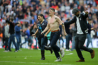 Millwall fans run onto the pitch at the final whistle to celebrate Millwall's victory during Bradford City vs Millwall, Sky Bet EFL League 1 Play-Off Final at Wembley Stadium on 20th May 2017