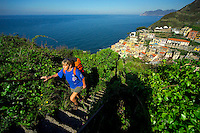 Cinque Terre, Liguria, Italy, May 2005. Built against the steep cliffs of the Ligurian coast of Italy, lie the five villages of the Cinque Terre. Ancient hiking trails connecting the villages offer some of Italy's most spectacular views. Photo by Frits Meyst/Adventure4ever.com