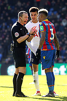 Patrick van Aanholt of Crystal Palace and Dele Alli of Tottenham Hotspur get spoken to by referee Kevin Friend during Crystal Palace vs Tottenham Hotspur, Premier League Football at Selhurst Park on 25th February 2018
