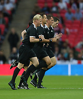 The match officials warm-up before the game<br /> <br /> Photographer Rob Newell/CameraSport<br /> <br /> UEFA Nations League - League A - Group 4 - England v Spain - Saturday September 8th 2018 - Wembley Stadium - London<br /> <br /> World Copyright &copy; 2018 CameraSport. All rights reserved. 43 Linden Ave. Countesthorpe. Leicester. England. LE8 5PG - Tel: +44 (0) 116 277 4147 - admin@camerasport.com - www.camerasport.com