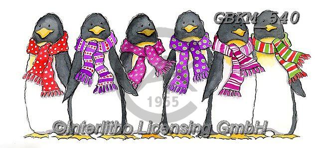 Kate, CHRISTMAS ANIMALS, WEIHNACHTEN TIERE, NAVIDAD ANIMALES,penguins, paintings+++++Penguins.,GBKM540,#xa#