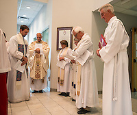 NWA Democrat-Gazette/ANTHONY REYES &bull; @NWATONYR<br /> Several leaders of local Episcophal churches pray before the start of the Ascension Day service Thursday, May 14, 2015 at St. Thomas Episcopal in Springdale. The church held a joint worship service with Good Shepherd Lutheran in Fayetteville and included leaders from other churches including Good Shepherd ECLA Church, Eureka Springs, Grace Episcopal Church, All-Saints Episcopal Church among others.