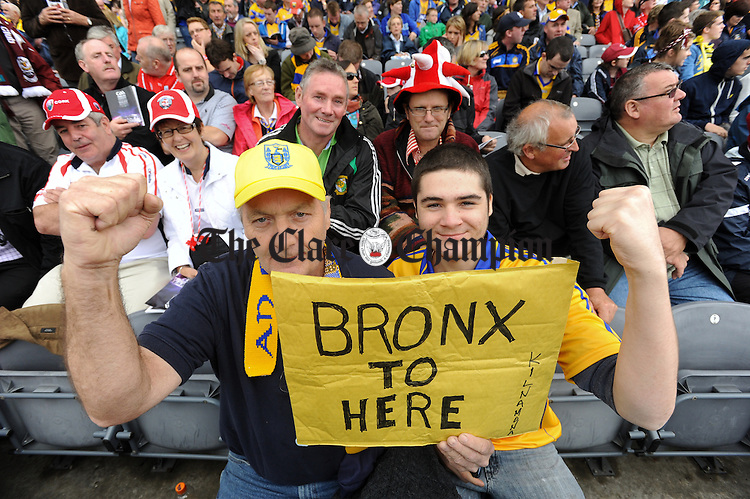 Matthew and Matthew Talty of Bronx new York, originally from Kilnamona before the All-Ireland senior hurling final against Cork at Croke Park. Photograph by John Kelly.