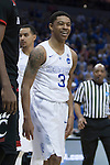 Guard Tyler Ulis of the Kentucky Wildcats laughs off a foul during the second half of the game against the Cincinnati Bearcats at KFC Yum! Center on Saturday, March 21, 2015 in Louisville , Ky. Kentucky defeated Cincinnati 64-51. Photo by Michael Reaves | Staff.