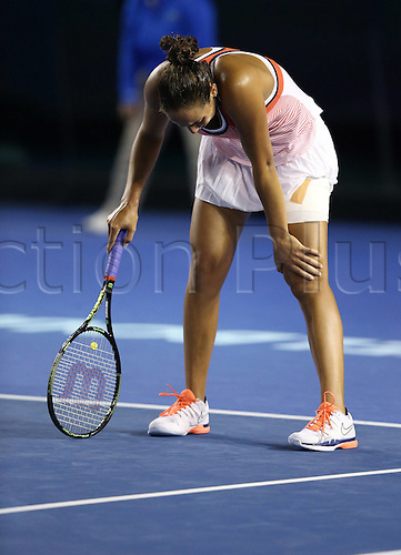 25.01.2016. Melbourne Park, Melbourne, Australia.  Madison Keys of the United States reacts during the 4th round match of women s singles against Chinas Zhang Shuai at the Australian Open Tennis Championships in Melbourne, Australia, Jan. 25, 2016. Zhang Shuai won 2-1 and entered for womens singles quarterfinals here Monday.
