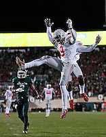 Ohio State Buckeyes wide receiver Devin Smith (9) celebrates a touchdown catch with wide receiver Corey Smith (84) during the second quarter of the NCAA football game at Spartan Stadium in East Lansing, Michigan on Nov. 8, 2014. (Adam Cairns / The Columbus Dispatch)