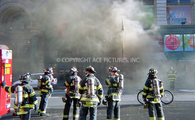 "New York, December 1, 2004: Thick clouds of smoke bursting out of manholes along Sixth Avenue subway tunnell between 13th and 20th Streets. ....Metropolitan Transit Authorities released the following statement -- ""Due to a smoke and rail condition on the 6th Avenue Line there are several changes in normal ... subway service..."" ....Local news channel, NY1, reported that northbound F train with fifty-seven passengers on board derailed near Herald Square at about 4 AM, disrupting subway service along Sixth Avenue in Manhattan. ....Transit officials say it appears the train, while traveling slowly through a work zone, derailed on an improperly secured section of track that was in the process if being replaced.....No one was injured. Please byline: Alecsey Boldeskul - ACE PICTURES..... *** ***..Ace Pictures, Inc:  ..Alecsey Boldeskul (646) 267-6913 ..Philip Vaughan (646) 769-0430..e-mail: info@acepixs.com..web: http://www.acepixs.com"