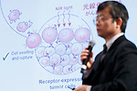 Hisataka Kobayashi, Chief Scientist and Senior Investigator of the Molecular Imaging Program of the National Cancer Institution, speaks during the first day of the New Economy Summit (NEST 2017) on April 6, 2017, Tokyo, Japan. The annual summit brings together global entrepreneurs and innovators for a two-day event in Tokyo. (Photo by Rodrigo Reyes Marin/AFLO)