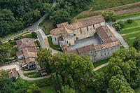 France, Aquitaine, Landes (40) , Hastingues: Abbaye d'Arthous /  France, Aquitaine, Landes, Hastingues: Arthous abbey<br /> Vue aérienne