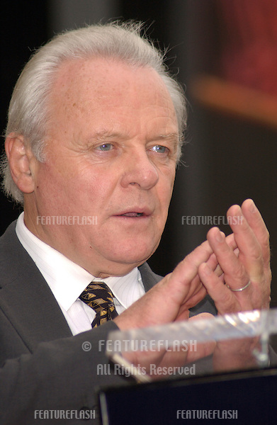 Actor SIR ANTHONY HOPKINS on Hollywood Blvd where he was honored with the 2,237th star on the Hollywood Walk of Fame..Sept 24, 2003