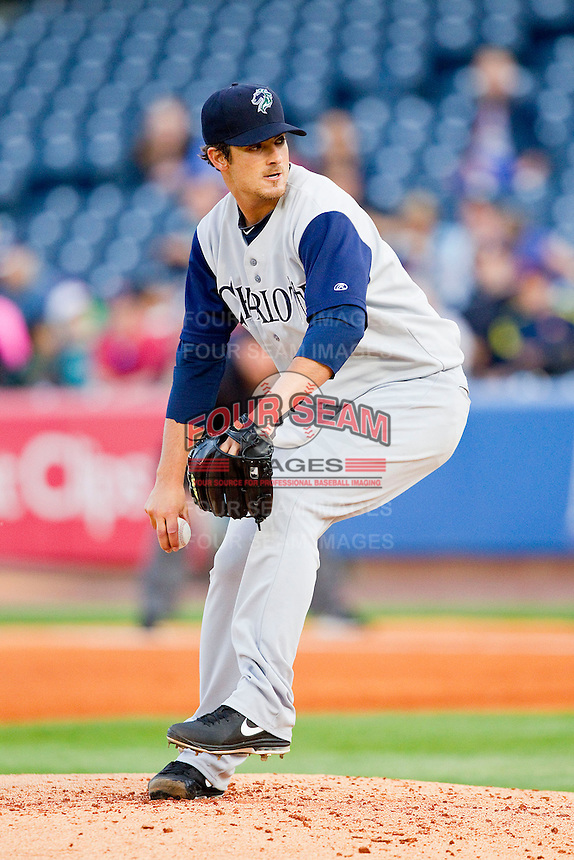 Charlotte Knights starting pitcher Andre Rienzo (25) in action against the Toledo Mudhens at 5/3 Field on May 3, 2013 in Toledo, Ohio.  The Knights defeated the Mudhens 10-2.  (Brian Westerholt/Four Seam Images)