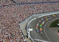 Mar. 1, 2009; Las Vegas, NV, USA; NASCAR Sprint Cup Series drivers Jimmie Johnson and Kurt Busch lead the field to the green flag during the Shelby 427 at Las Vegas Motor Speedway. Mandatory Credit: Mark J. Rebilas-