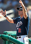 Reno Aces Manager Brett Bulter works in the dugout in a minor league baseball game against the Tuscon Padres in Reno, Nev. on Monday, Sept. 3, 2012..Photo by Cathleen Allison