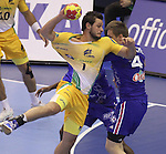 15.01.2013 Granollers, Spain. IHF men's world championship, prelimanary round. Picture show  Guilherme Gama   in action during game between France v Brazil at Palau d'esports de Granollers