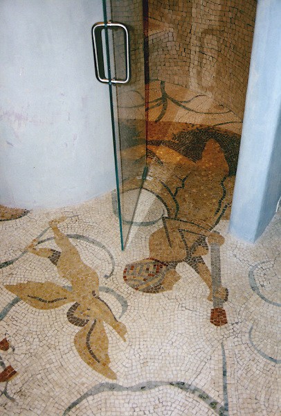 Custom Roman African shower in hand chopped marble mosaic tesserae