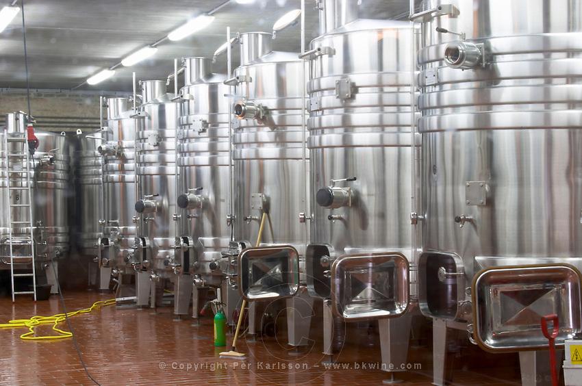 stainless steel tanks dom m picard chateau de ch-m chassagne-montrachet cote de beaune burgundy france
