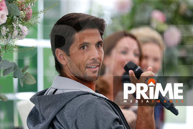 Fernando Verdasco (ESP) during a pre match interview during The Boodles Tennis 2015 tournament match at Stoke Park, Stoke Poges, England on 24 June 2015. Photo by Andy Rowland.