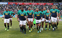 Siya Kolisi (captain) of South Africa leads his team off during the 2018 Castle Lager Incoming Series 2nd Test match between South Africa and England at the Toyota Stadium.Bloemfontein,South Africa. 16,06,2018 Photo by Steve Haag / stevehaagsports.com