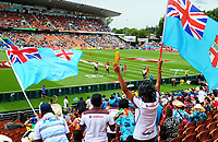 Fans watch the pool match between Fiji and Wales on day one of the 2018 HSBC World Sevens Series Hamilton at FMG Stadium in Hamilton, New Zealand on Saturday, 3 February 2018. Photo: Dave Lintott / lintottphoto.co.nz