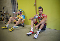 post race: Kenny Dehaes (BEL/Lotto-Belisol) & Joeri Adams (BEL/Telenet Fidea) waiting/drinking in front of the doping office after a hot day (a humid 29°C) racing so that they can provide their 'samples' for the  doping officials. <br /> <br /> Heistse Pijl 2014