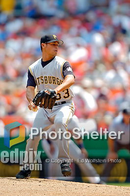 30 June 2005: Ian Snell, pitcher for the Pittsburgh Pirates, pitched 2 innings, giving up 2 runs, in a game against the Washington Nationals. The Nationals defeated the Pirates 7-5 to sweep the 3-game series at RFK Stadium in Washington, DC.  Mandatory Photo Credit: Ed Wolfstein