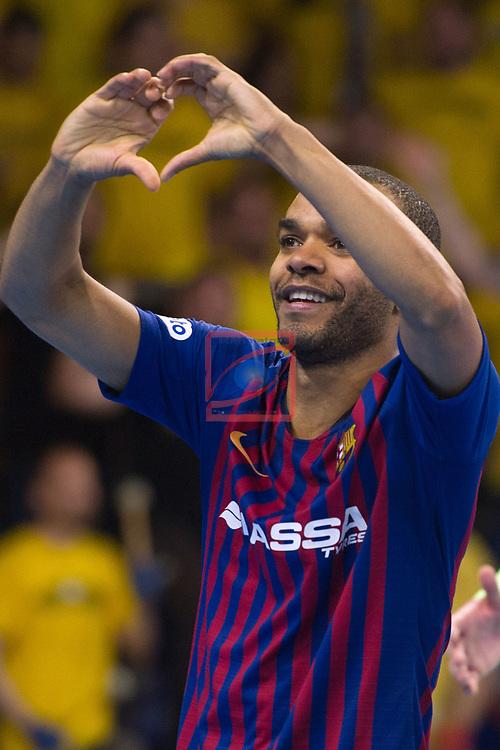 League LNFS 2018/2019.<br /> PlayOff Final. 1er. partido.<br /> FC Barcelona Lassa vs El Pozo Murcia: 7-2.<br /> Leo Santana.