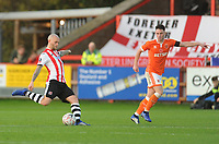 Exeter City's Nicky Law under pressure from Blackpool's Jordan Thompson<br /> <br /> Photographer Kevin Barnes/CameraSport<br /> <br /> Emirates FA Cup First Round - Exeter City v Blackpool - Saturday 10th November 2018 - St James Park - Exeter<br />  <br /> World Copyright &copy; 2018 CameraSport. All rights reserved. 43 Linden Ave. Countesthorpe. Leicester. England. LE8 5PG - Tel: +44 (0) 116 277 4147 - admin@camerasport.com - www.camerasport.com