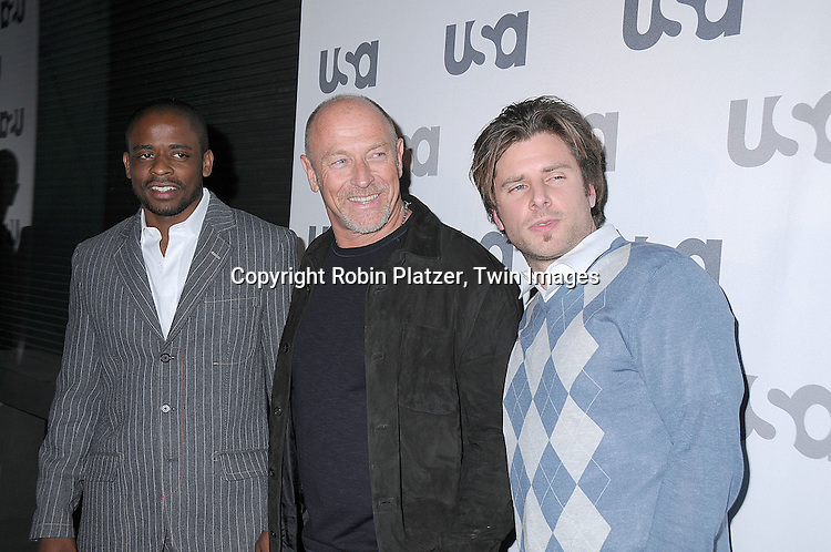 "Psych"" cast Dule Hill, Corbin Bernsen and James Roday.posing for photographers at The USA Network Upfront.on March 26, 2008 at The Modern. ..Robin Platzer, Twin Images"