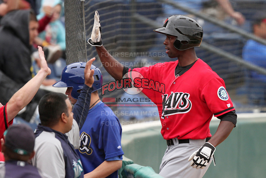 James Jones #28 of the High Desert Mavericks returns to the dugout during game against the Rancho Cucamonga Quakes at The Epicenter in Rancho Cucamonga,California on May 8, 2011. Photo by Larry Goren/Four Seam Images