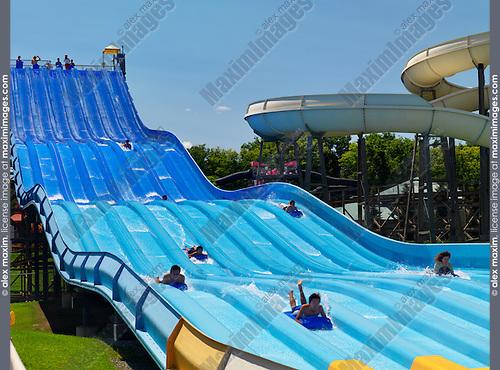 Riptide Racer water slide at a water park at Canada's Wonderland amusement park. Vaughan Ontario Canada.