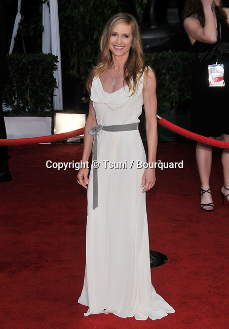 Holly Hunter  arriving at the SAG Awards 2008 at the Shrine Auditorium in Los Angeles.<br /> <br /> full length<br /> fashion<br /> smile