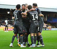 Lincoln City's Michael Bostwick, centre celebrates scoring his side's fourth goal with team-mate <br /> <br /> Photographer Andrew Vaughan/CameraSport<br /> <br /> The EFL Sky Bet League Two - Port Vale v Lincoln City - Saturday 13th October 2018 - Vale Park - Burslem<br /> <br /> World Copyright © 2018 CameraSport. All rights reserved. 43 Linden Ave. Countesthorpe. Leicester. England. LE8 5PG - Tel: +44 (0) 116 277 4147 - admin@camerasport.com - www.camerasport.com