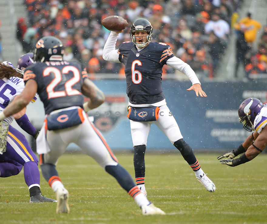Chicago Bears Jay Cutler (6) during a game against the Minnesota Vikings on November 16, 2014 at Soldier Field in Chicago, IL. The Bears beat the Vikings 21-13.