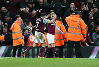 Birkir Bjarnason of Aston Villa celebrates with Robert Snodgrass scoring Aston Villa's fourth goal<br /> <br /> Photographer Leila Coker/CameraSport<br /> <br /> The EFL Sky Bet Championship - Aston Villa v Wolverhampton Wanderers - Saturday 10th March 2018 - Villa Park - Birmingham<br /> <br /> World Copyright &copy; 2018 CameraSport. All rights reserved. 43 Linden Ave. Countesthorpe. Leicester. England. LE8 5PG - Tel: +44 (0) 116 277 4147 - admin@camerasport.com - www.camerasport.com