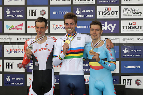 05.03.2016. Lee Valley Velo Centre, London England. UCI Track Cycling World Championships Mens Points Race.  Podium : GRAF Andreas (AUT) - DIBBEN Jonathan (GBR) -  DE KETELE Kenny (BEL)