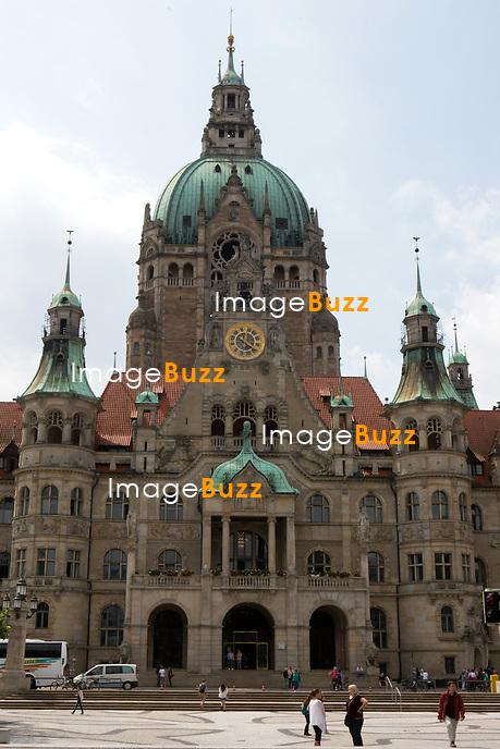Mariage civil du Prince Ernst junior de Hanovre et de Ekaterina Malysheva, &agrave; l' h&ocirc;tel de ville de Hanovre.<br /> Allemagne, Hanovre, 6 juillet 2017.<br /> Civil wedding of Prince Ernst Junior of Hanover and Ekaterina Malysheva at the new Town Hall in Hanover.<br /> Germany, Hanover, 6 july 2017<br /> Pic : new Town Hall in Hanover.