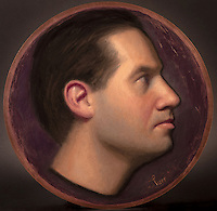 Self-Portrait in Profile, oil on copper, 12 inch diameter
