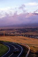 Car on rode leading to Waimea town, North Kohala, Big island of Hawaii