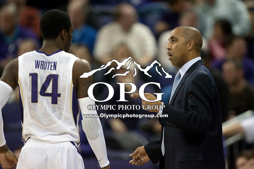 Jan 21, 2012:  Washington head coach Lorenzo Romar chats with Tony Wroten during the game against Stanford.  Washington defeated Stanford 76-63 at Alaska Airlines Arena Seattle, Washington...