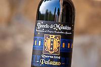 Brunello di Montalcino 2004 Riserva bottle of red wine at wine estate of Palazzo near Montalcino in Val D'Orcia, Tuscany, Italy