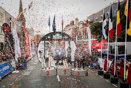 30.10.2016. Llandudno, Wales. WRC Dayinsure Wales Rally GB final day.  Winners SEBASTIEN OGIER on the PODIUM with 2nd TANAK and 3rd THIERRY NEUVILLE
