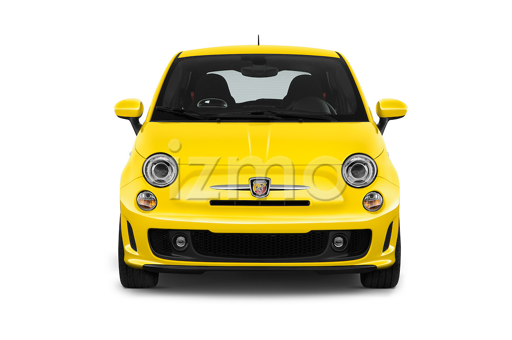 Car photography straight front view of a 2016 Fiat 500 Abarth 3 Door Hatchback Front View