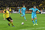 01.12.2018, Signal Iduna Park, Dortmund, GER, DFL, BL, Borussia Dortmund vs SC Freiburg, DFL regulations prohibit any use of photographs as image sequences and/or quasi-video<br /> <br /> im Bild Lukasz Piszczek (#26, Borussia Dortmund) legt quer zum Torschuetzen zum 2:0 Paco Alcacer (#9, Borussia Dortmund) <br /> <br /> Foto © nordphoto/Mauelshagen