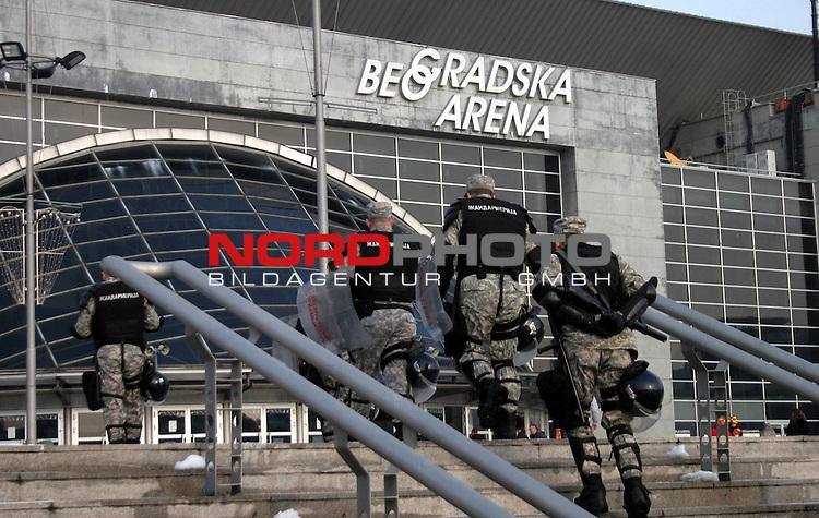 27.01.2012., Belgrade, Serbia - 10th Men's European Handball Championship. Serbian police around Belgrade Arena after the announcement that on the semi final mathes arrives 1000-2000 Croatian fans. <br /> <br /> Foto &copy;  nph / Halopix