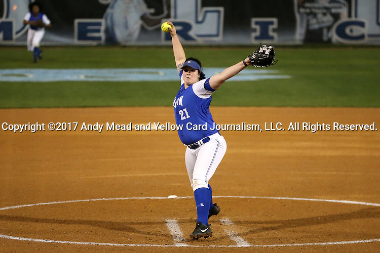 CHAPEL HILL, NC - FEBRUARY 24: Hampton's Allyson Babinsack pitches. The Hampton University Pirates played the Towson University Tigers on February, 24, 2017, at Anderson Softball Stadium in Chapel Hill, NC in a Division I College Softball match. Towson won 17-2 in a five inning run-rule game.