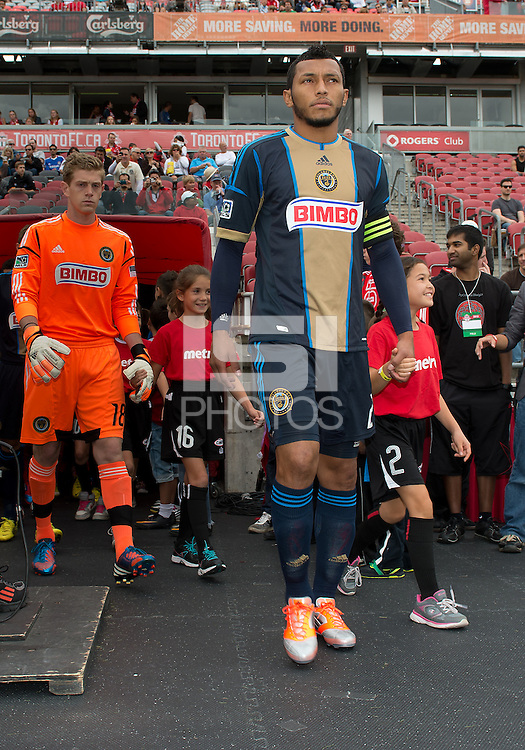 15 September 2012: Philadelphia Union defender Carlos Valdes #2 leads his team onto the pitch during the opening ceremonies in an MLS game between the Philadelphia Union and Toronto FC at BMO Field in Toronto, Ontario..The game ended in a 1-1 draw..