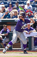 TCU Horned Frogs catcher Evan Skoug (9) at bat against the Texas Tech Red Raiders in Game 3 of the NCAA College World Series on June 19, 2016 at TD Ameritrade Park in Omaha, Nebraska. TCU defeated Texas Tech 5-3. (Andrew Woolley/Four Seam Images)
