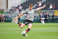 20120823 Copyright onEdition 2012©.Free for editorial use image, please credit: onEdition..Owen Farrell of Saracens practises his kicking at The Honourable Artillery Company, London in the pre-season friendly between Saracens and Stade Francais Paris...For press contacts contact: Sam Feasey at brandRapport on M: +44 (0)7717 757114 E: SFeasey@brand-rapport.com..If you require a higher resolution image or you have any other onEdition photographic enquiries, please contact onEdition on 0845 900 2 900 or email info@onEdition.com.This image is copyright the onEdition 2012©..This image has been supplied by onEdition and must be credited onEdition. The author is asserting his full Moral rights in relation to the publication of this image. Rights for onward transmission of any image or file is not granted or implied. Changing or deleting Copyright information is illegal as specified in the Copyright, Design and Patents Act 1988. If you are in any way unsure of your right to publish this image please contact onEdition on 0845 900 2 900 or email info@onEdition.com