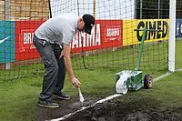 Groundstaff mark the goalines ahead of kick-off during Guatemala Under-23 vs England Under-20, Tournoi Maurice Revello Football at Stade Marcel Cerdan on 11th June 2019